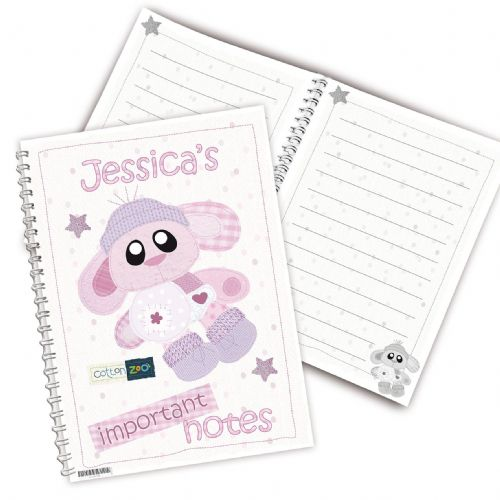 Personalised Cotton Zoo Bobbin the Bunny Notebook